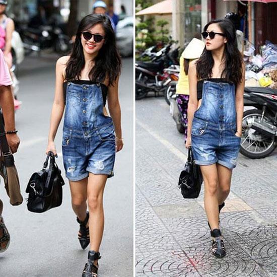 quần yếm jean shorts