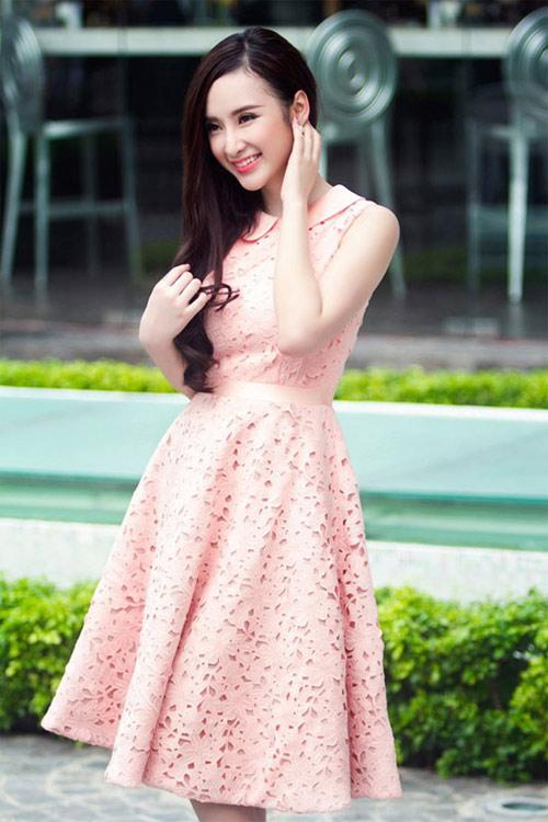 váy xòe màu hồng