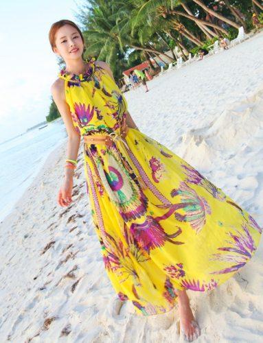 Váy đầm maxi họa tiết đi tiệc mùa hè cho cô nàng thon gầy