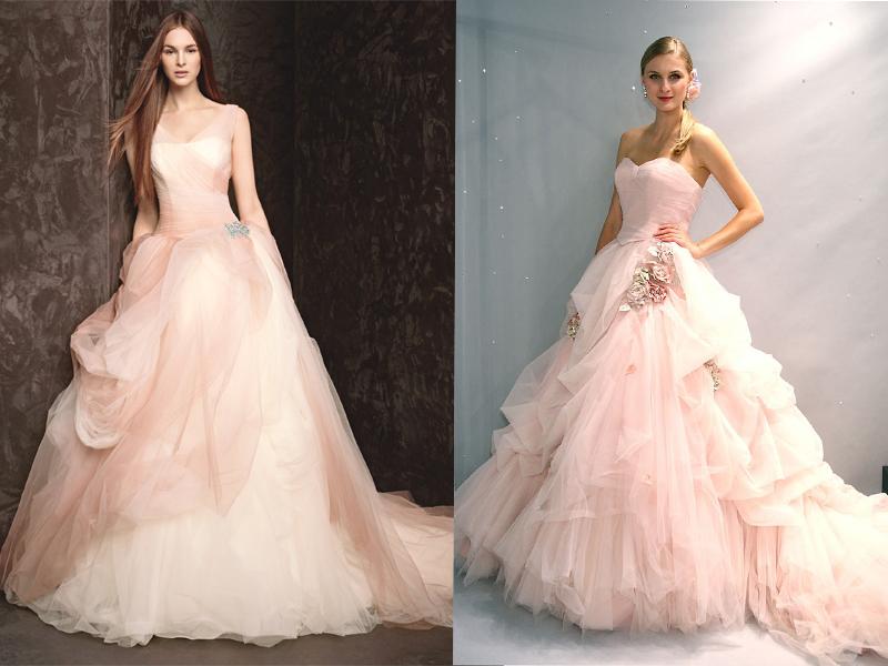 Váy cưới màu hồng pastel